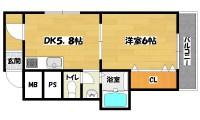 長居駅 1DK 1階